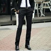 秋商务男士西裤修身休闲黑色西装裤小脚正装显瘦免烫加厚潮