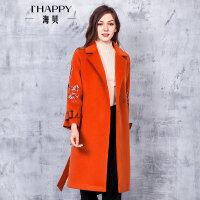 海贝2017冬装新款女装外套 西装领长袖收腰绣花中长款毛呢大衣