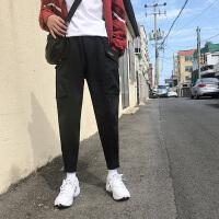 ins潮牌长裤子男韩版潮流冬季侧边口袋束脚工装裤男士嘻哈休闲裤