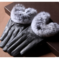 女士秋冬季 獭兔毛真皮绵羊皮加绒保暖 皮手套
