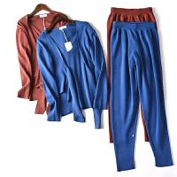 春季新款女装套装小香风背心外套休闲裤针织时尚三件套 JY801-1