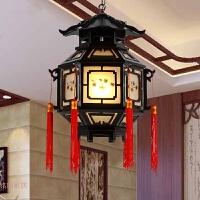 中式古典灯笼吊灯仿古宫灯六角木质防水户外阳台宫廷走廊餐厅灯具