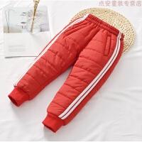儿童羽绒棉保暖裤2018冬季装男女童外穿加厚长裤子高腰宝宝运动裤
