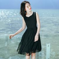 夏季新品女装短裙雪纺网纱拼接连衣裙波西米亚海边度假沙滩裙 黑色XZA578