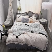 冬款加厚公主风珊瑚绒夹棉被套加厚保暖加绒蕾丝蝴蝶结床裙四件套