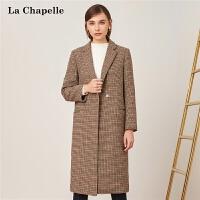 【3折到手价389元】格子呢子大衣女冬季新款宽松英伦羊毛赫本过膝中长款毛呢外套