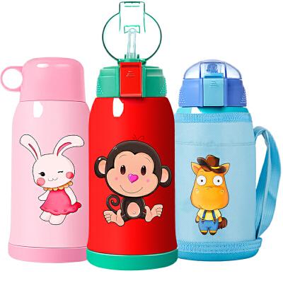 儿童保温杯带吸管两用fang摔水杯小学生水壶幼儿园男女宝宝可爱杯子