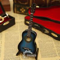 迷你乐器木制蓝色古典吉他模型摆件