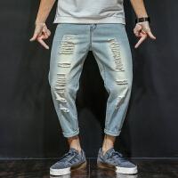 牛仔裤男士夏季乞丐破洞九分裤男式夏季宽松潮流9分小脚哈伦裤子大码薄款潮 浅蓝色