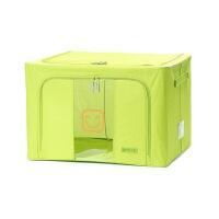 博纳屋 简单爱收纳箱牛津布 66L有盖铁架百纳箱衣物储物箱收纳盒,收纳箱66L烟罗绿
