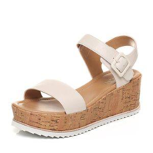 BASTO/百思图2017夏季专柜同款羊皮简约一字坡跟女凉鞋TH204BL7