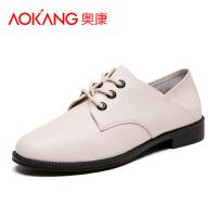 奥康女鞋新款正品真皮女鞋防滑透气时尚休闲皮鞋低跟小白鞋单鞋子潮