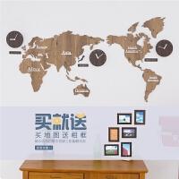 世界地图钟表挂钟客厅现代北欧装饰个性背景墙时钟