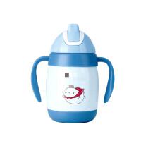 小孩保温杯 日本婴儿儿童保温杯带吸管杯 304不锈钢宝宝双把手柄学饮杯 T1701蓝色