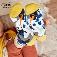 【3折价:34.5】小虎宝儿男童袜子中筒5双一盒2019春秋新款儿童长棉袜中大童潮