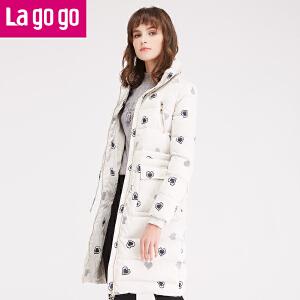 拉谷谷2016冬季女装新款中长款加厚羽绒服外套
