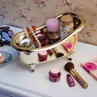【满减】欧润哲 镀金色ABS大号浴缸收纳盒 化妆品洗护品桌面整理盒
