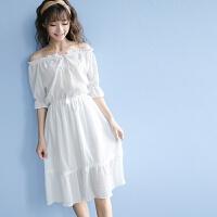 一字肩连衣裙韩版小清新女夏学生高腰收腰修身显瘦中长款仙女裙子 均码