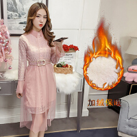 2018春季新款蕾丝连衣裙女长袖修身中长款粉色加绒打底裙气质淑女 (加绒)