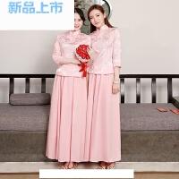 中式伴娘服复古中国风姐妹团粉色套装民国五四学生服舞台表演出服