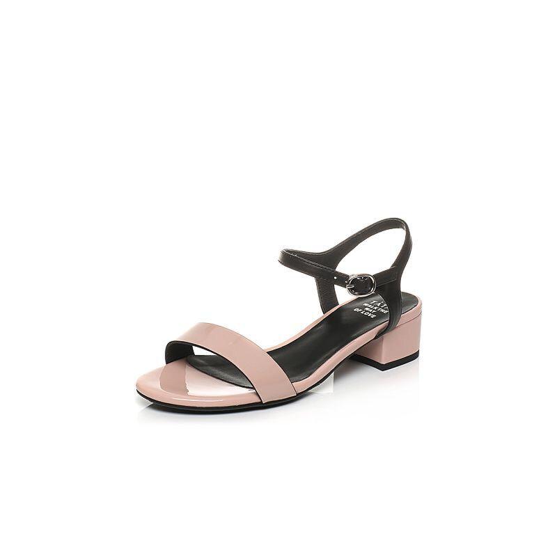 Tata/他她2017年夏季漆牛皮一字带粗跟女皮凉鞋FAO03BL7