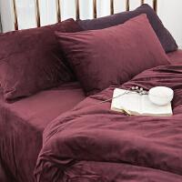 冬季纯色磨毛简约天鹅绒四件套法兰绒床单被套珊瑚绒床品1.8m 2.0m(6.6英尺)床 床笠款