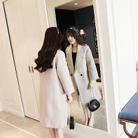 毛呢外套女中长款2017秋冬新款加厚韩版学生矮个焦糖色呢子大衣