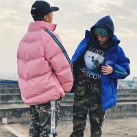 韩国街头潮人原宿风oversize反光面包男女加厚棉袄冬季棉衣潮