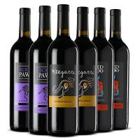 澳洲袋鼠红酒整箱 澳大利亚原瓶原装进口袋鼠(ROO)干红葡萄酒750*6支 3种混装6支整箱