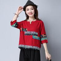 民族风女装 秋装新款 中国风文艺棉麻个性宽松夏季五分袖上衣
