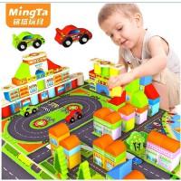 铭塔168粒赛车场拼装积木木制宝宝早教益智智力儿童玩具启蒙桶装