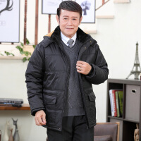 冬季新款中老年棉衣男士加绒加厚羽绒连帽外套爸爸装老人棉袄 黑色