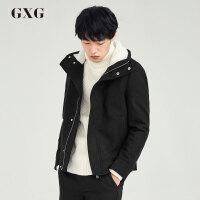 【5折价369.5,仅限10.12-15日】GXG男装 冬季男士时尚休闲都市黑色流行修身短款大衣#64806507