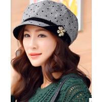 韩版女士贝雷帽子休闲新款可爱秋冬金线时装帽 潮流时尚女款画家