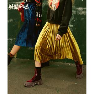 【2件3折到手价:111】妖精的口袋Y秋冬季新款百褶半身裙中长款高腰奶茶ins裙子女
