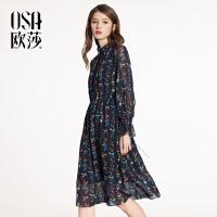 ⑩OSA欧莎2018春装新款女装  气质优雅荷叶袖印花连衣裙A13020