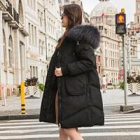 新款羽绒服女中长款加厚斗篷款真毛领韩版宽松显瘦修身外套潮