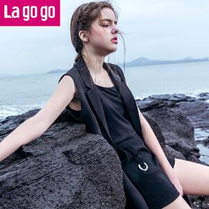【清仓3折价51.9】Lagogo2019夏季新款宽松高腰雪纺短裤女显瘦黑色休闲裤短款阔腿裤