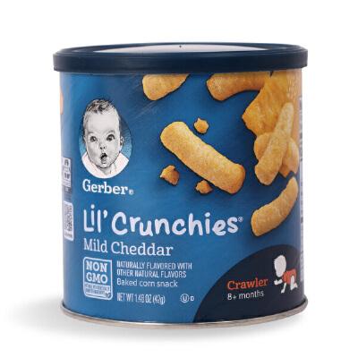 美国进口 嘉宝Gerber 芝士切达奶酪玉米泡芙条含钙铁锌 宝宝零食
