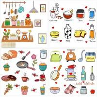 创意卡通贴饰可移除墙贴橱柜厨房冰箱餐厅贴纸贴画自粘瓷砖装饰品