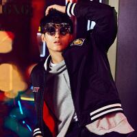 【GXG过年不打烊】GXG羽绒服男装 冬季男士都市修身时尚潮流青年休闲黑色羽绒服男