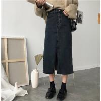 开叉牛仔半身裙女学生韩版春季修身显瘦一步裙中长款高腰包臀裙子