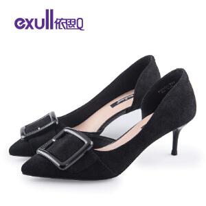 依思q秋季新款韩式方扣绒面尖头单鞋细跟高跟潮女鞋