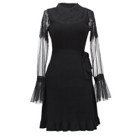 重磅定制 约会蕾丝拼接针织打底连衣裙毛衣裙秋喇叭袖小黑裙