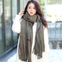 韩版冬季女学生保暖百搭英伦格子超长流苏毛线围巾加厚仿羊绒披肩
