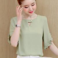 2019夏装新款女装韩版蕾丝打底衫百搭小衫夏装短袖雪纺t恤上衣潮GD521-9310