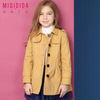 米奇丁当女童风衣中长款春秋2018新款韩版时尚中大童女孩修身外套