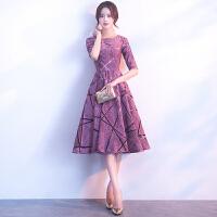 宴会晚礼服2018新款中长款时尚优雅主持人小礼服聚会派对连衣裙女 紫色