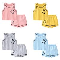 男婴儿无袖家居服夏季女宝宝休闲满月份新生儿套装潮