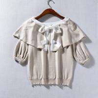 C*20 女装2018春季韩版新品纯色圆领蝴蝶结系带五分袖时尚针织衫